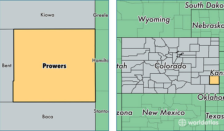 location of Prowers county on a map