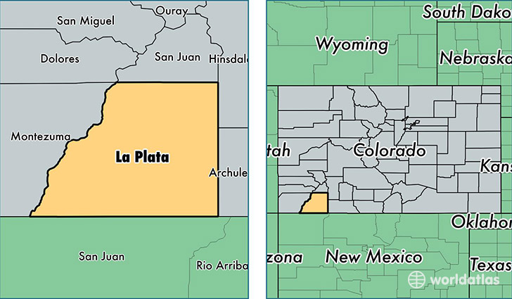 location of La Plata county on a map
