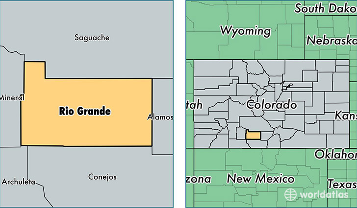 location of Rio Grande county on a map