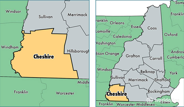 location of Cheshire county on a map