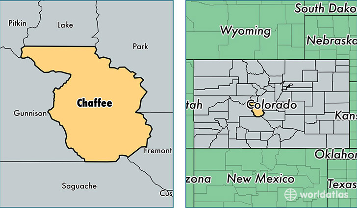location of Chaffee county on a map