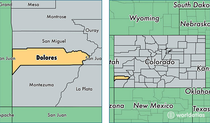 location of Dolores county on a map