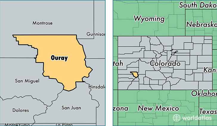 location of Ouray county on a map