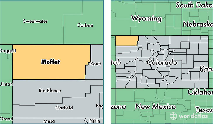 location of Moffat county on a map