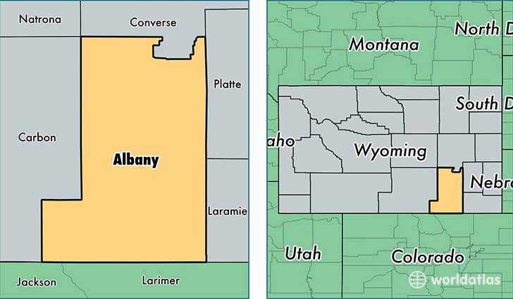 Albany Indiana Map.Albany County Wyoming Map Of Albany County Wy Where Is Albany