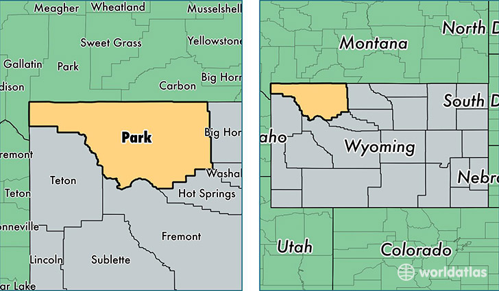 location of Park county on a map