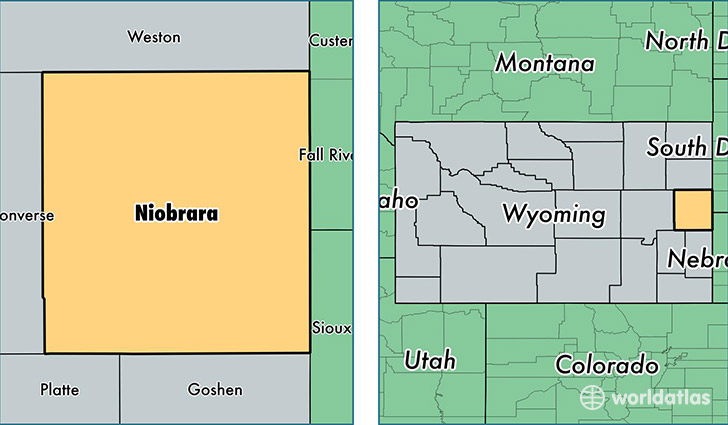 location of Niobrara county on a map