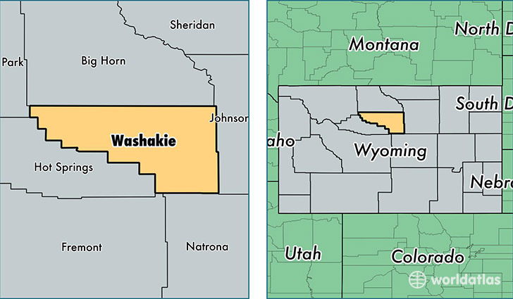 location of Washakie county on a map