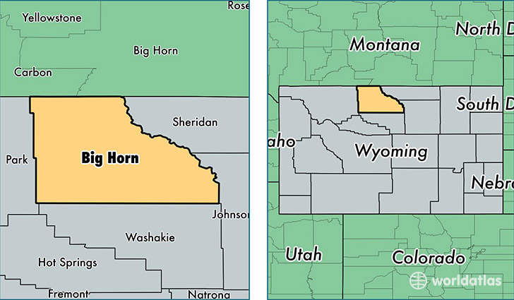 location of Big Horn county on a map