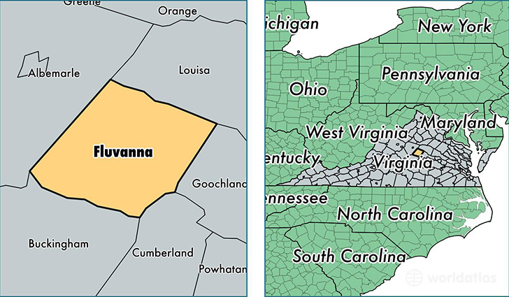 location of Fluvanna county on a map