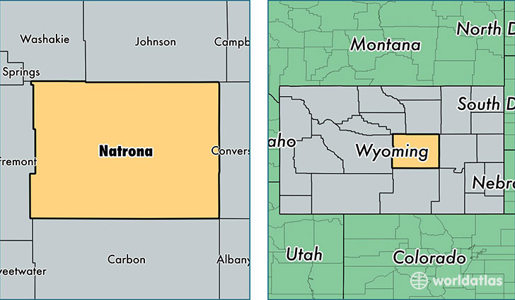 location of Natrona county on a map