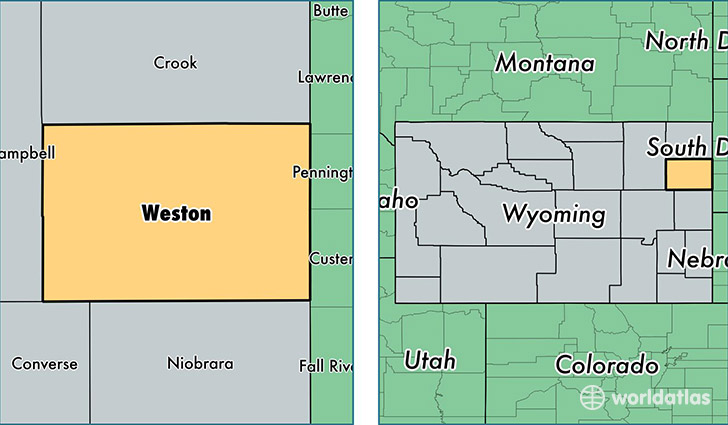 location of Weston county on a map