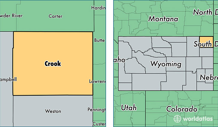 location of Crook county on a map