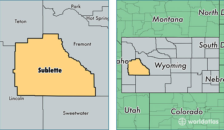 location of Sublette county on a map