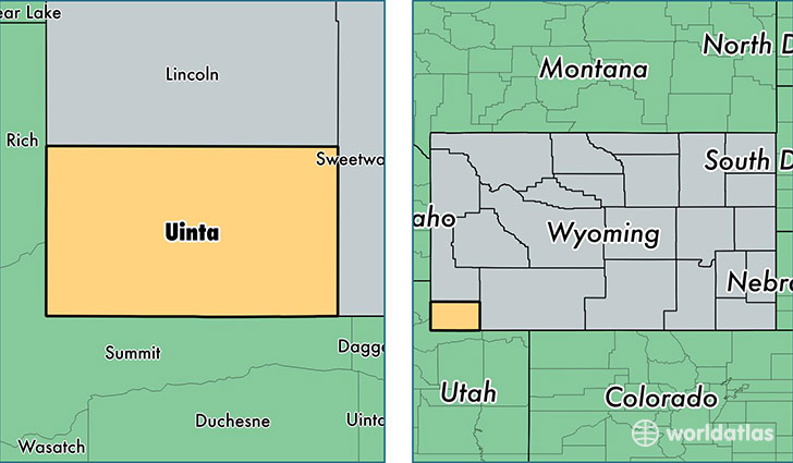 location of Uinta county on a map