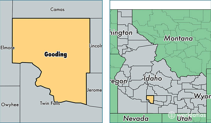 location of Gooding county on a map