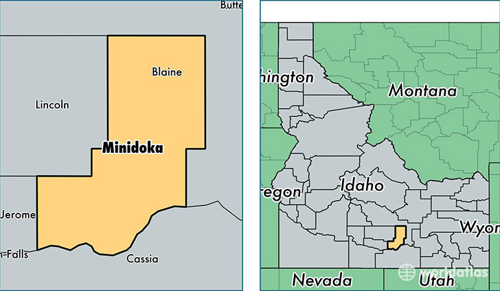 location of Minidoka county on a map