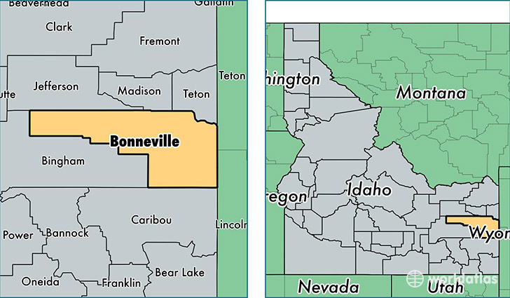location of Bonneville county on a map