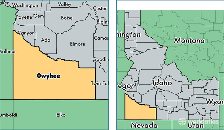 location of Owyhee county on a map