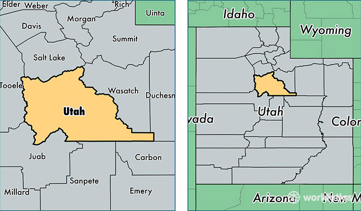 location of Utah county on a map