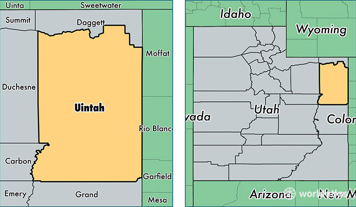 location of Uintah county on a map