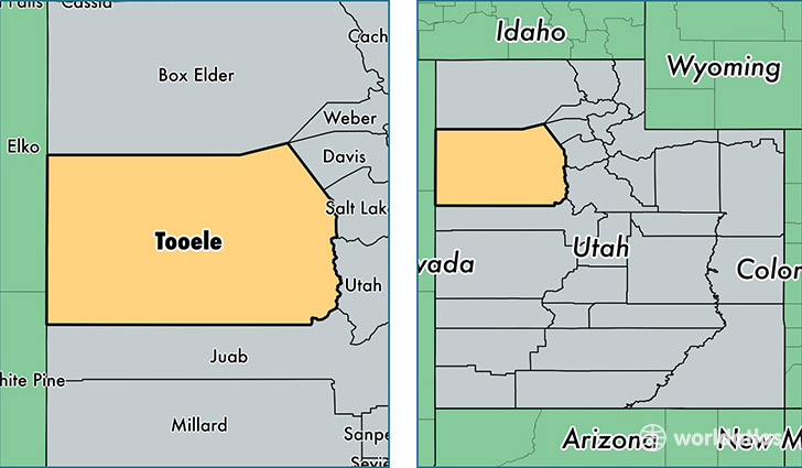 location of Tooele county on a map