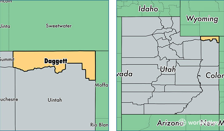 location of Daggett county on a map