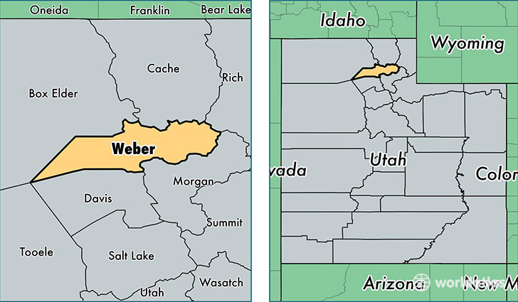location of Weber county on a map