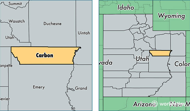 location of Carbon county on a map