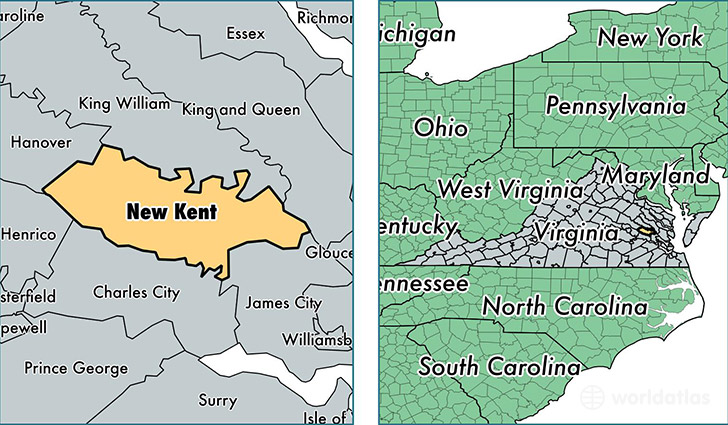 location of New Kent county on a map