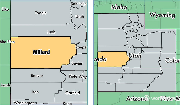 location of Millard county on a map