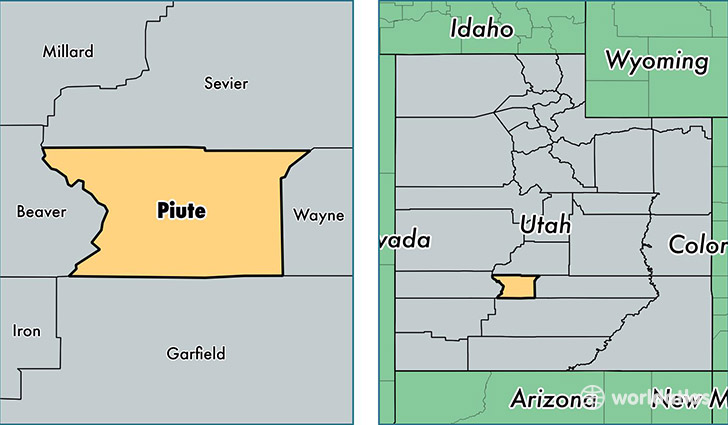 location of Piute county on a map