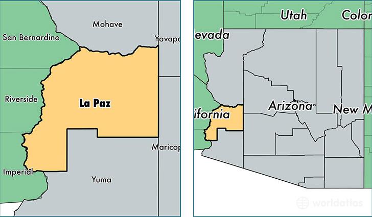 Paz County Location of la Paz County