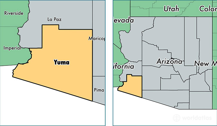 Yuma County Arizona Map Of Yuma County AZ Where Is Yuma County - Arizona state map with counties