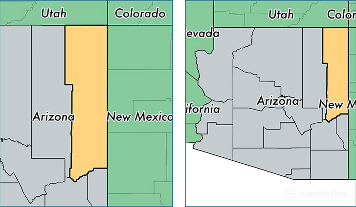 location of Apache county on a map
