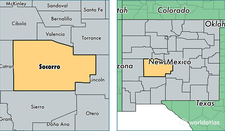 location of Socorro county on a map