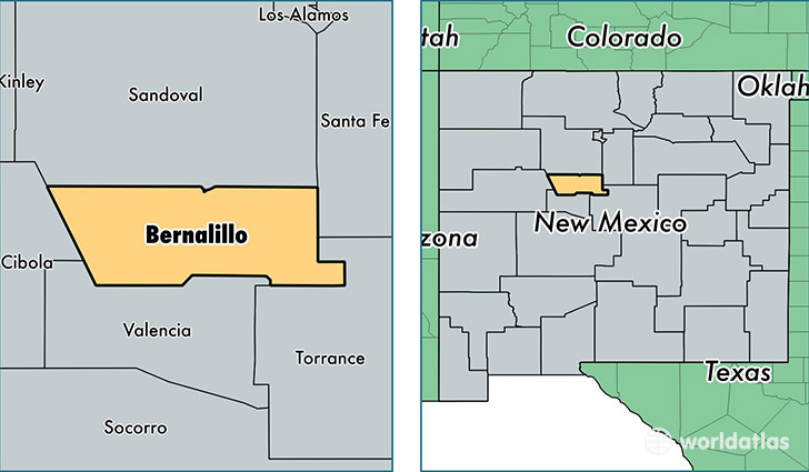 location of Bernalillo county on a map