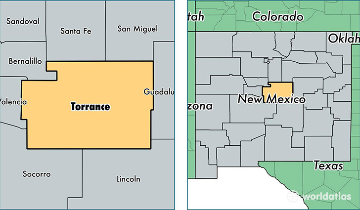 location of Torrance county on a map