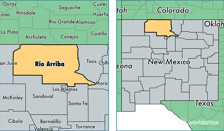 location of Rio Arriba county on a map