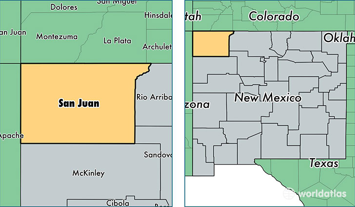 San Juan County New Mexico Map Of San Juan County NM Where - Map us laatitude san juan
