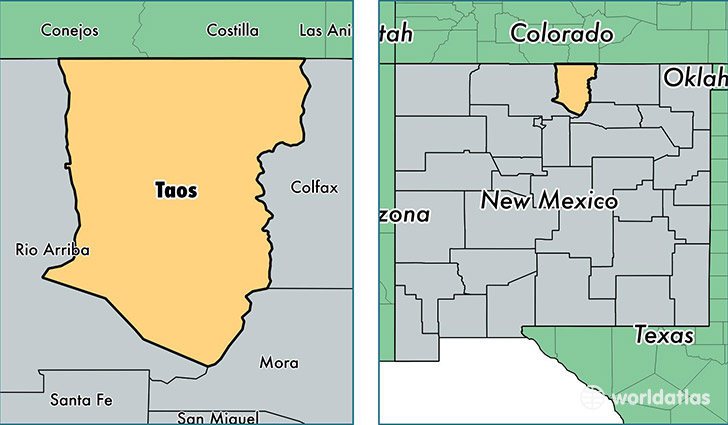 location of Taos county on a map