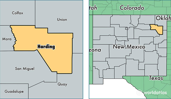 location of Harding county on a map