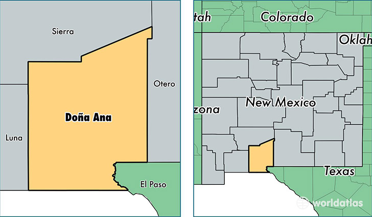 location of Dona Ana county on a map
