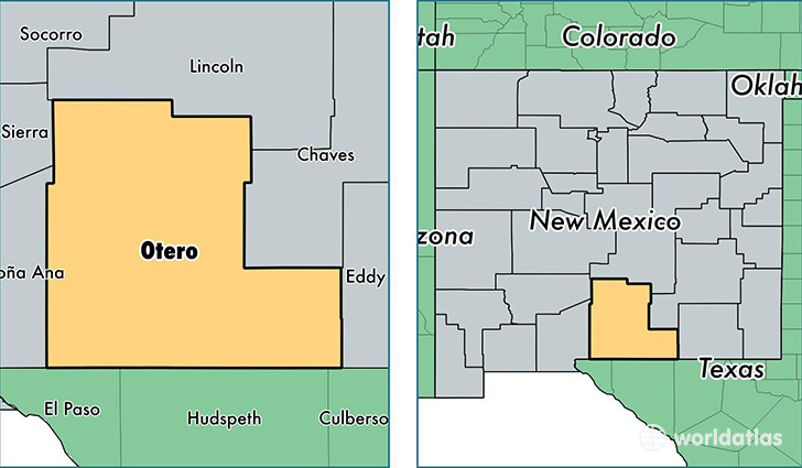 location of Otero county on a map