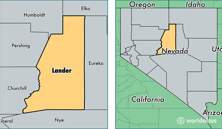 location of Lander county on a map