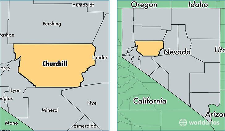 location of Churchill county on a map