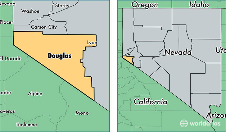 Douglas County Nevada Map of Douglas County NV Where is
