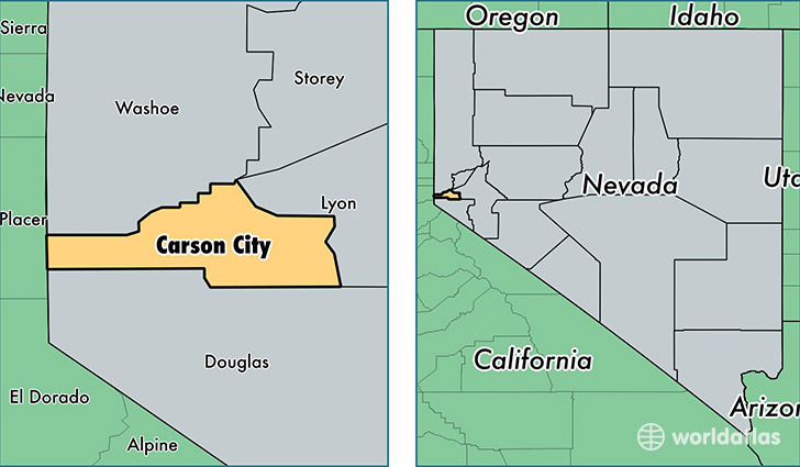 Carson City County, Nevada / Map of Carson City County, NV / Where ...
