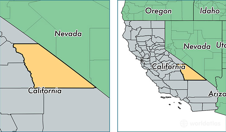location of Inyo county on a map