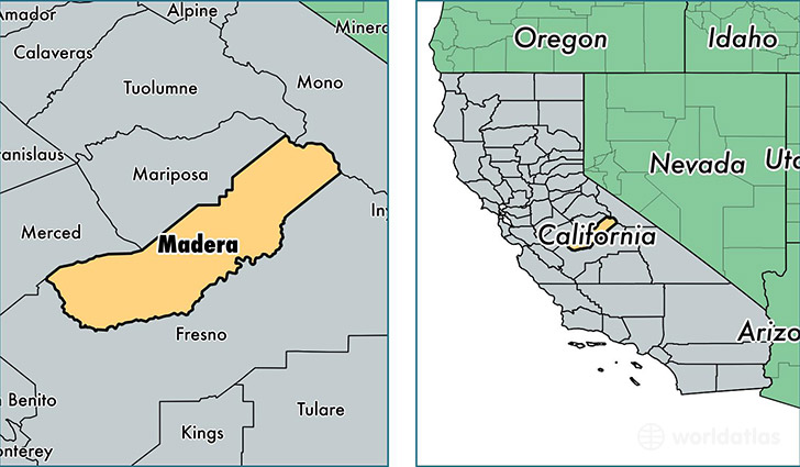 location of Madera county on a map